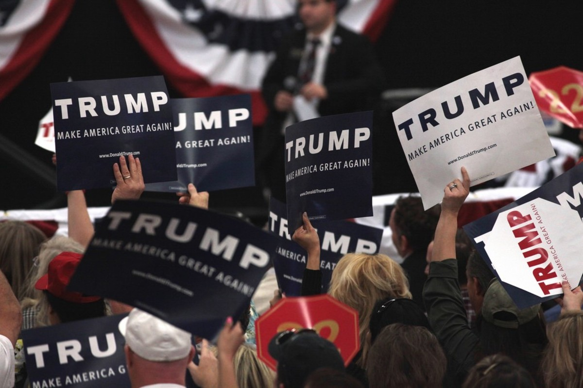 Donald Trump supporters at a campaign rally at the South Point Arena in Las Vegas, Nevada.