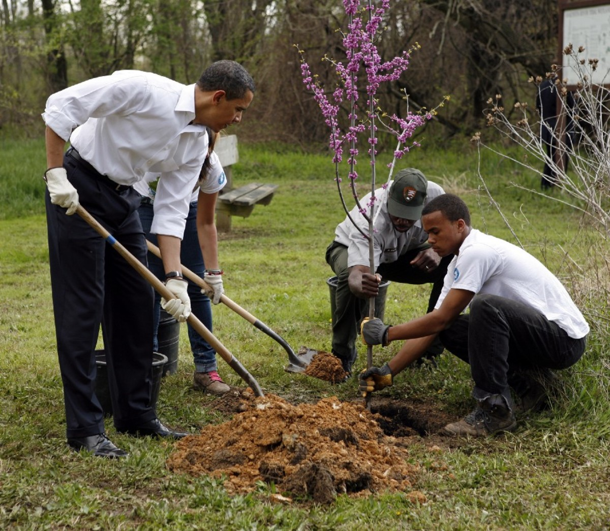 Barack Obama participates in a tree planting event on April 21st, 2009, in Washington, D.C.
