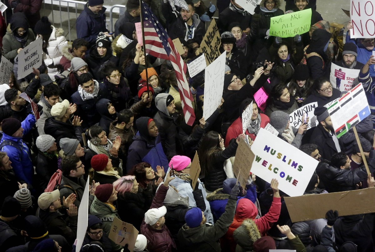 Demonstrators protest Donald Trump's immigration ban at O'Hare International Airport on January 29th, 2017, in Chicago, Illinois.