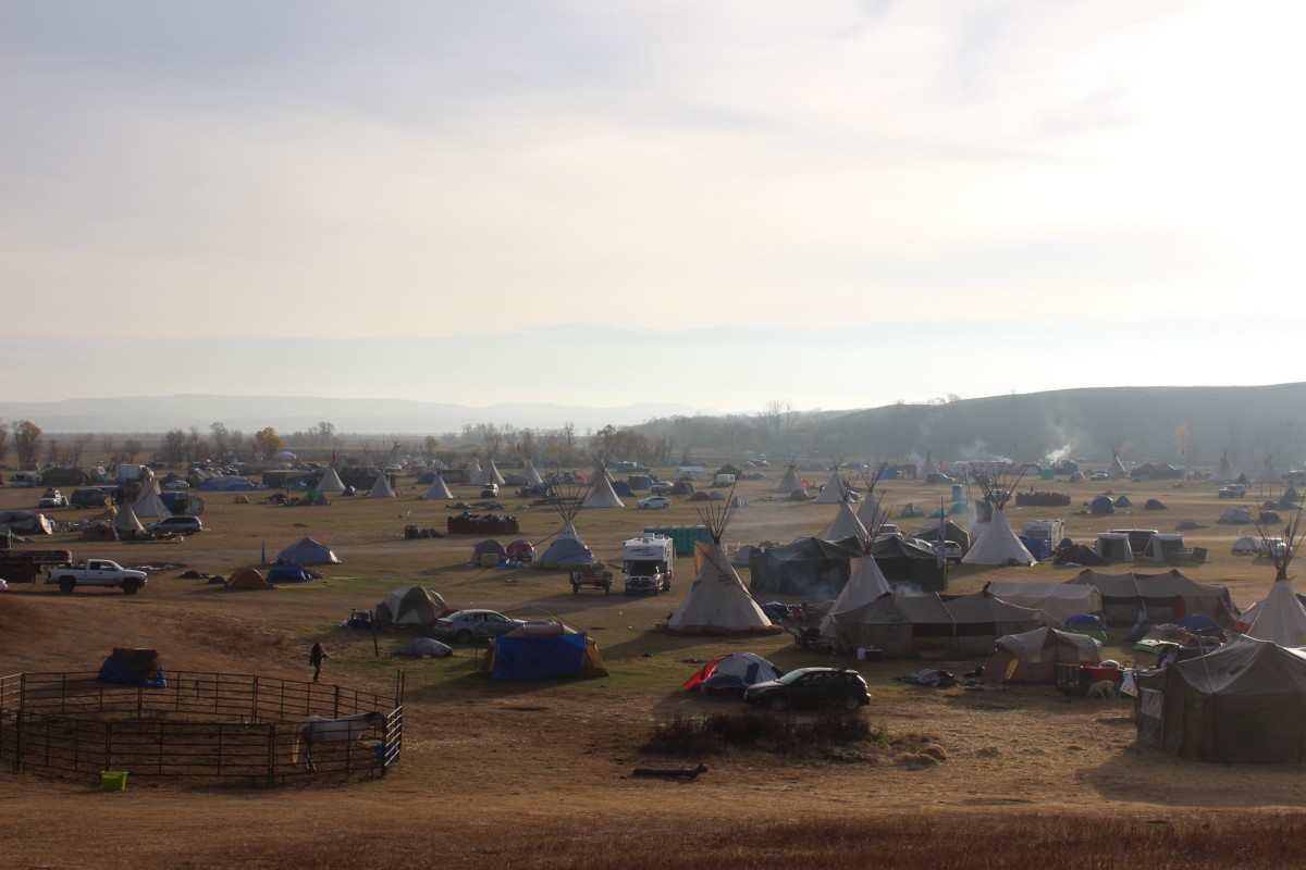 Oceti Sakowin Camp, the main water protector campsite located just to the North of Standing Rock Sioux Tribal Reservation on Highway 1806, near Cannon Ball, North Dakota, on October 27th, 2016.