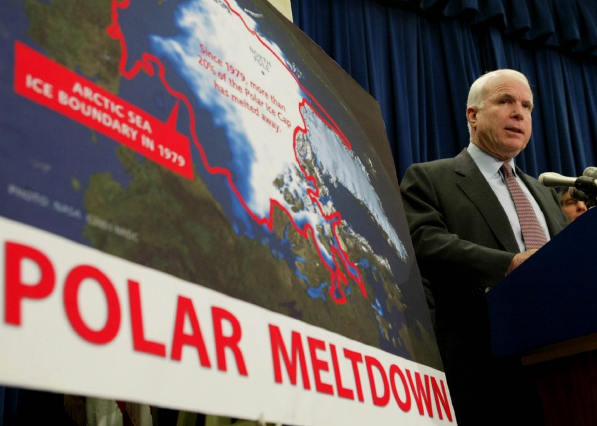 U.S. Senator John McCain speaks about global warming on Capitol Hill.