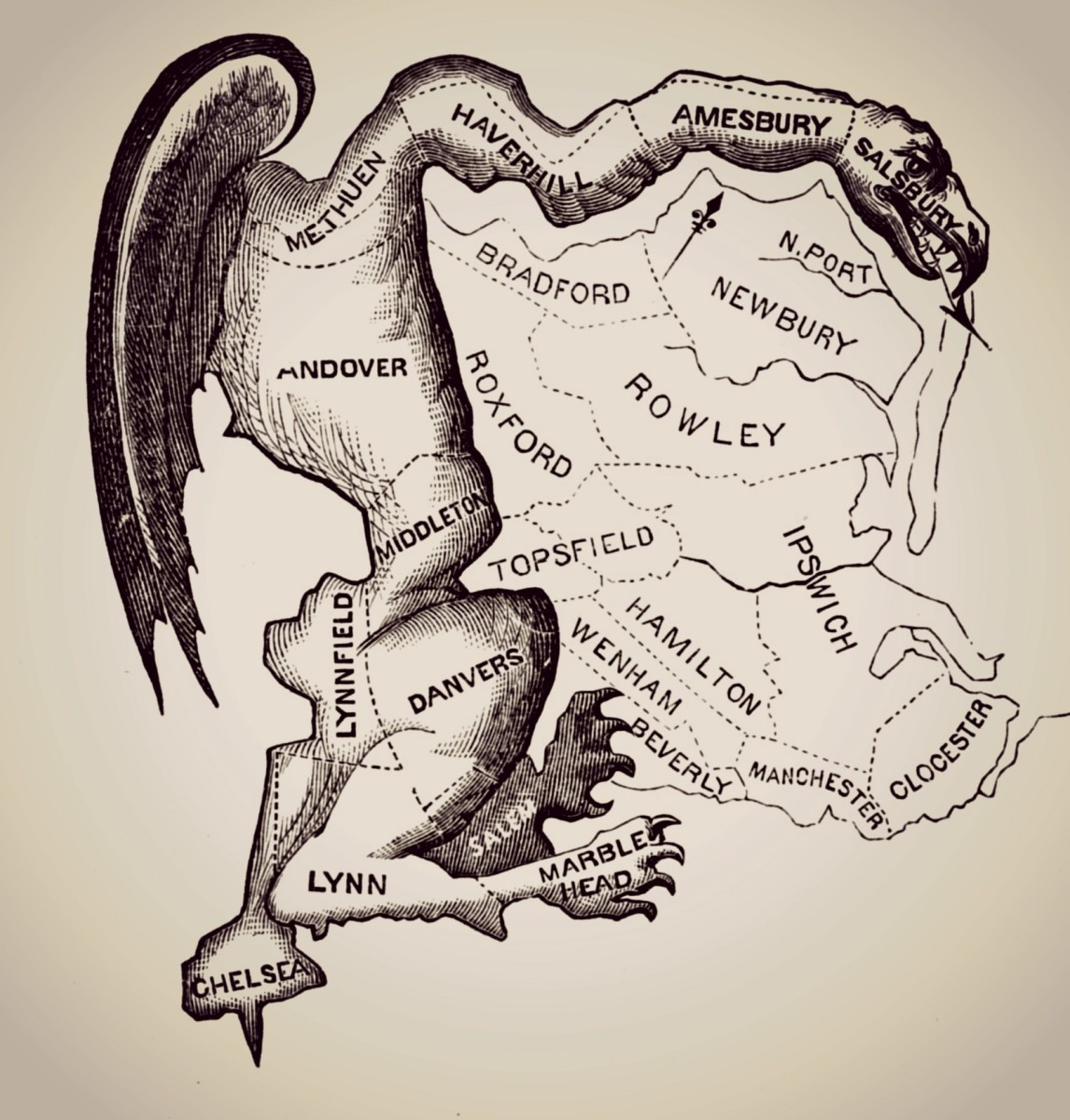 Printed in March 1812, this political cartoon came in reaction to the newly drawn state senate election district of South Essex created by the Massachusetts legislature.