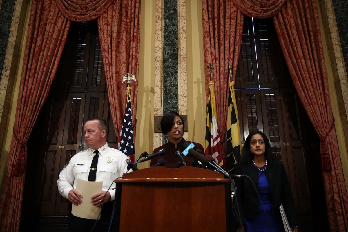 Baltimore Mayor Stephanie Rawlings-Blake at City Hall addressing a Department of Justice investigation into the Baltimore City Police Department on August 10, 2016.