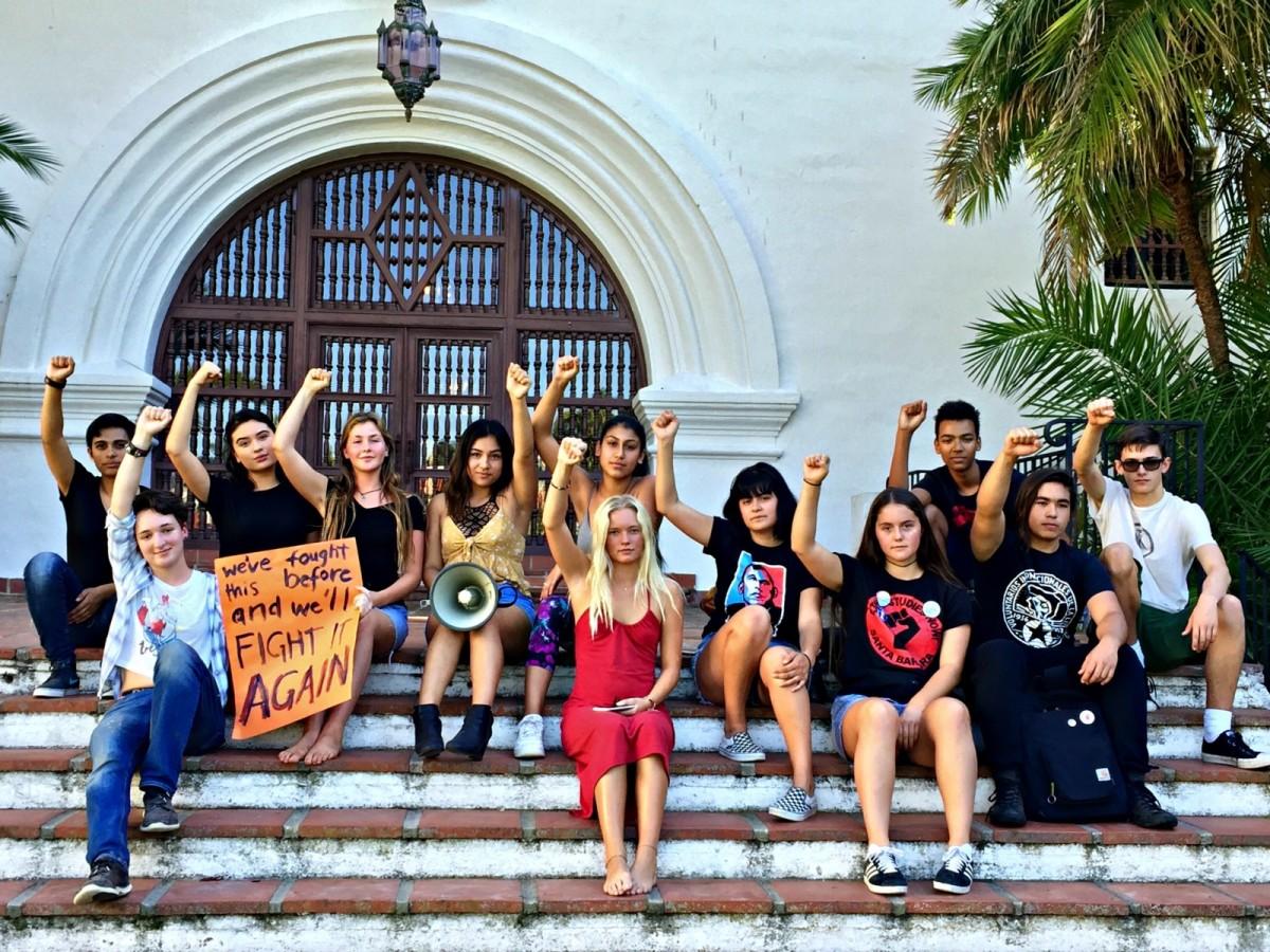 Students protesting Donald Trump in Santa Barbara, California, on November 9th, 2016.