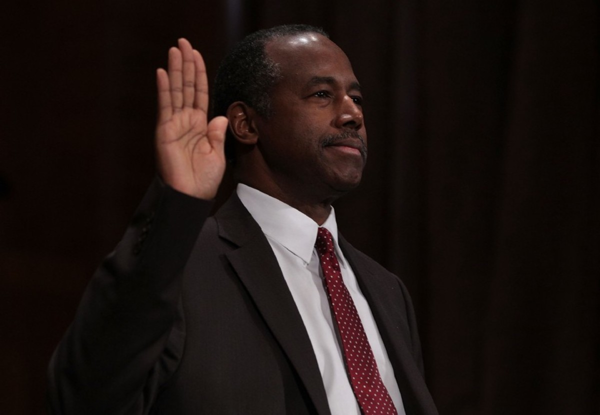 Secretary of Housing and Urban Development-designate Ben Carson is sworn in during his confirmation hearing on January 12th, 2017.