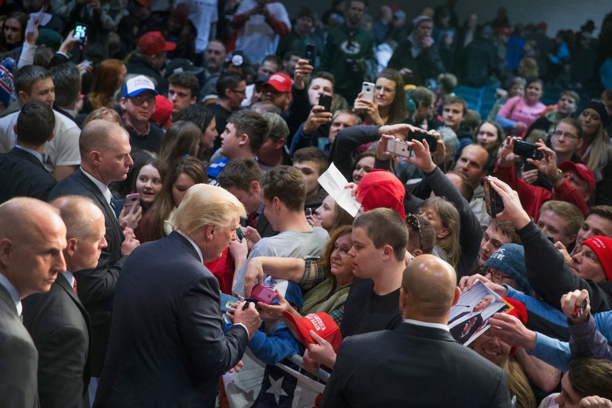 Donald Trump greets supporters during a campaign stop during the presidential primary on April 2nd, 2016, in Eau Claire, Wisconsin. (Photo: Scott Olson/Getty Images)