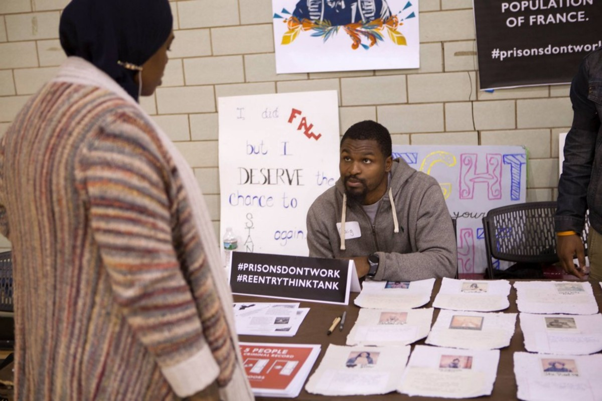 A scene from the expungement clinic at the Vare Recreation Center in Philadelphia, Pennsylvania.