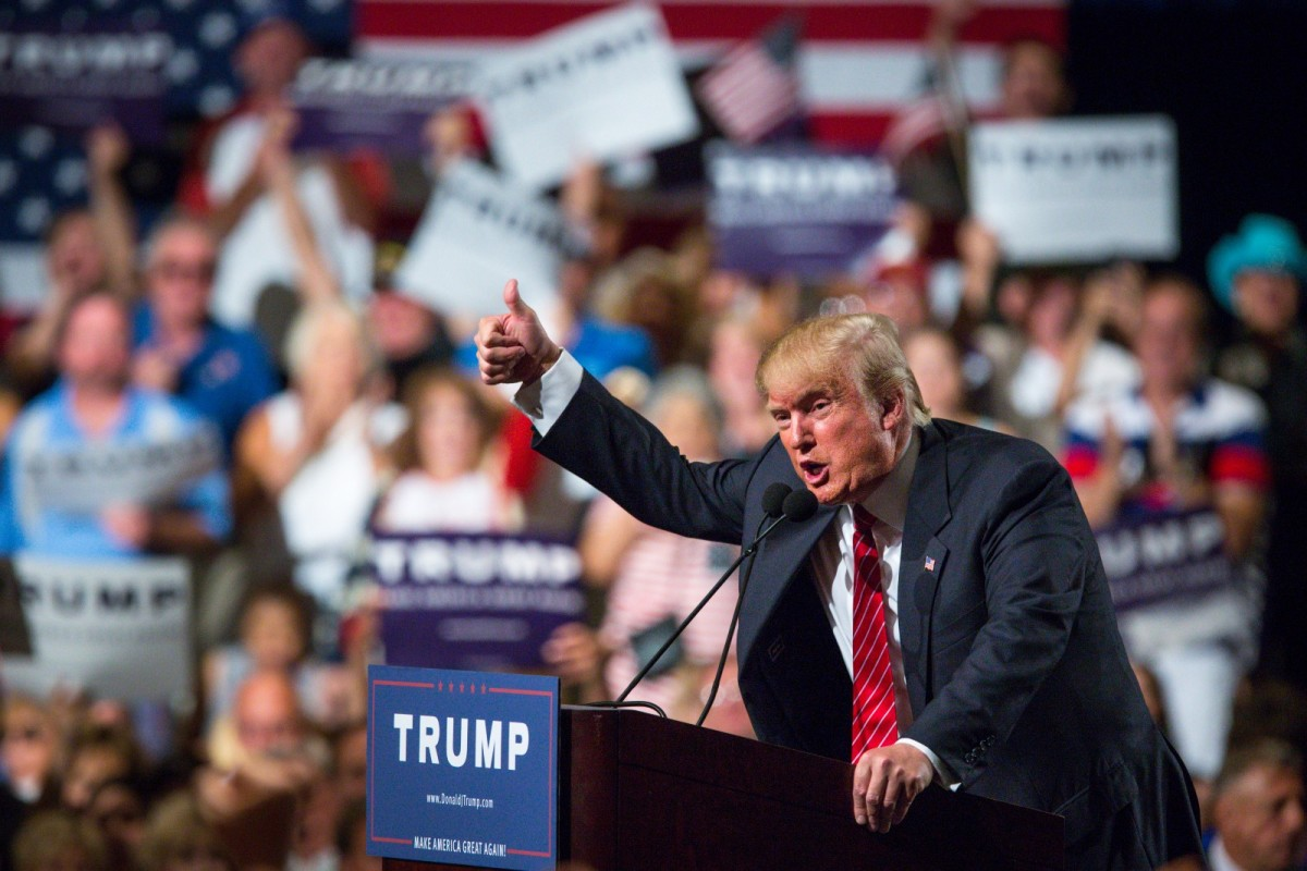 Donald Trump addresses supporters during a political rally at the Phoenix Convention Center on July 11th, 2015, in Phoenix, Arizona.