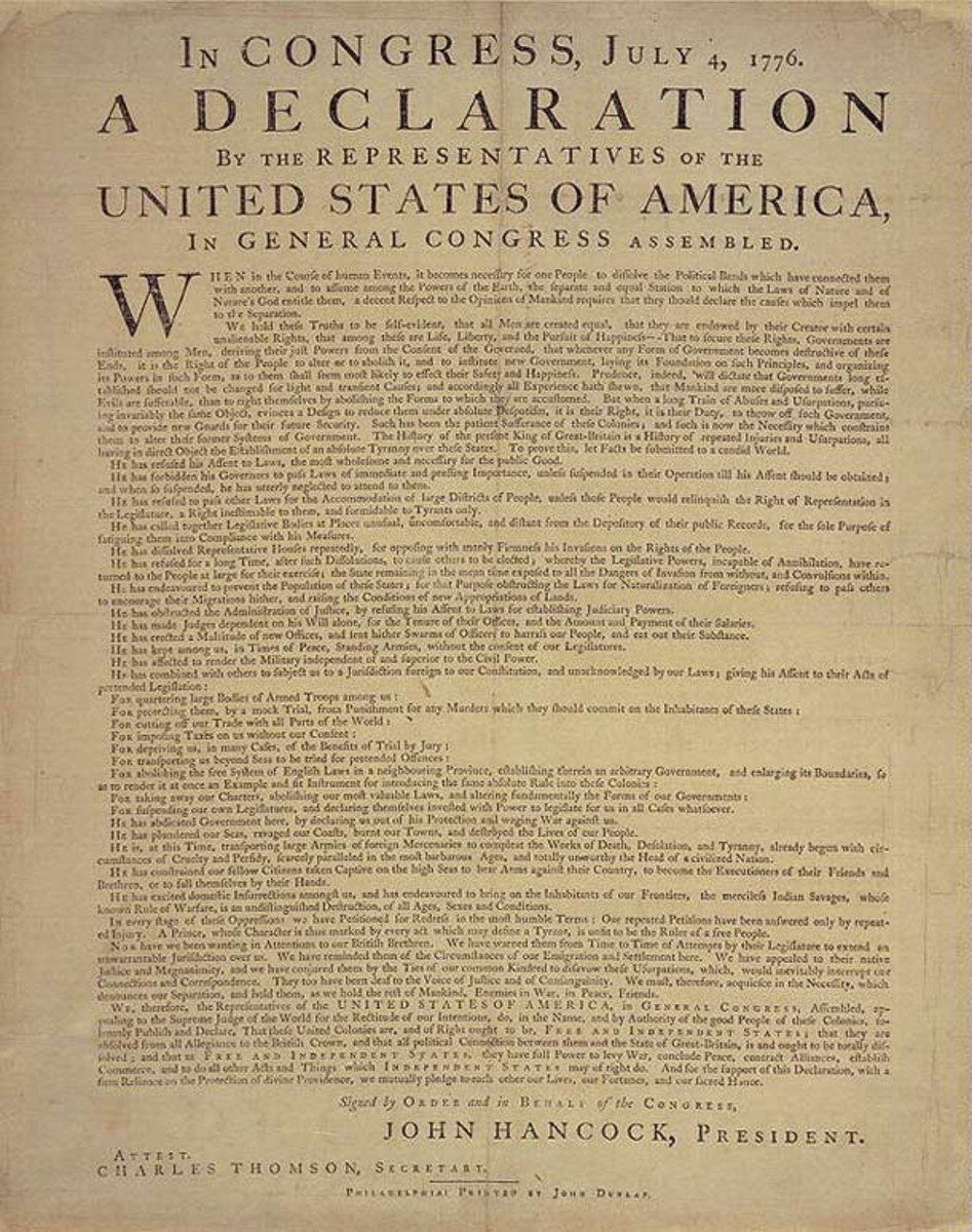 Dunlap's broadside of the Declaration of Independence.