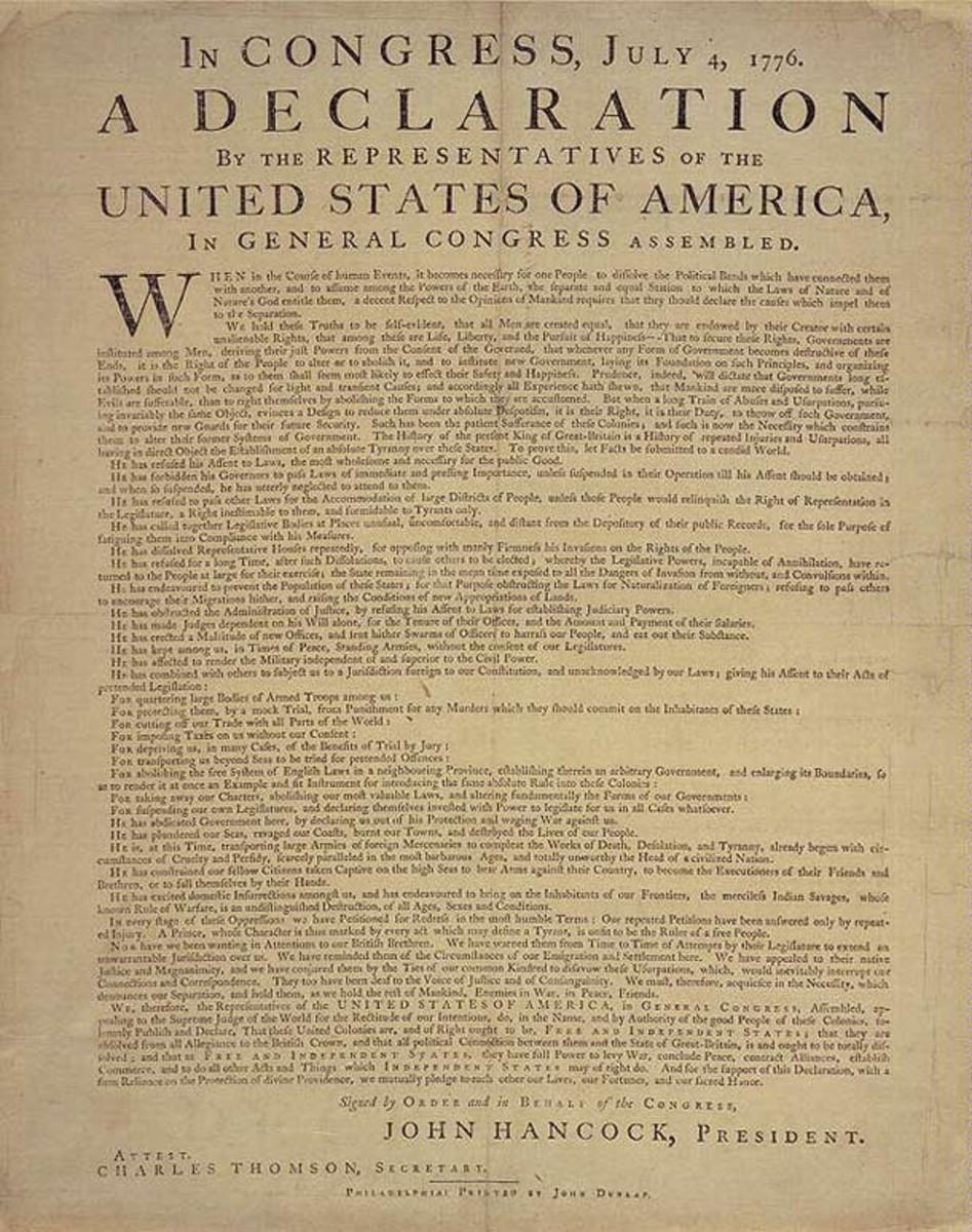 Dunlap's broadside of the Declaration of Independence.