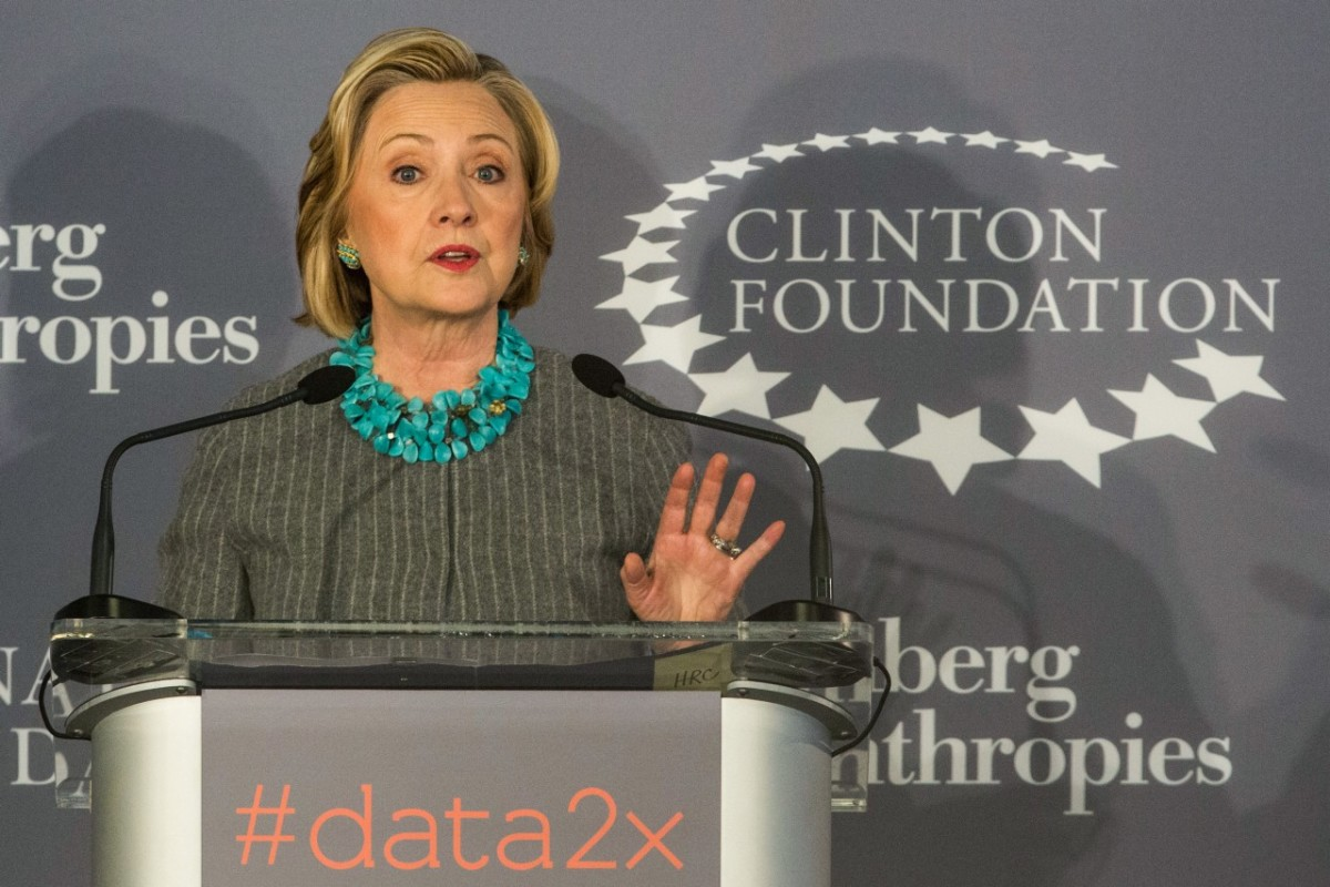 Hillary Clinton speaks at a press conference announcing a new initiative between the Clinton Foundation, United Nations Foundation, and Bloomberg Philanthropies on December 15th, 2014.