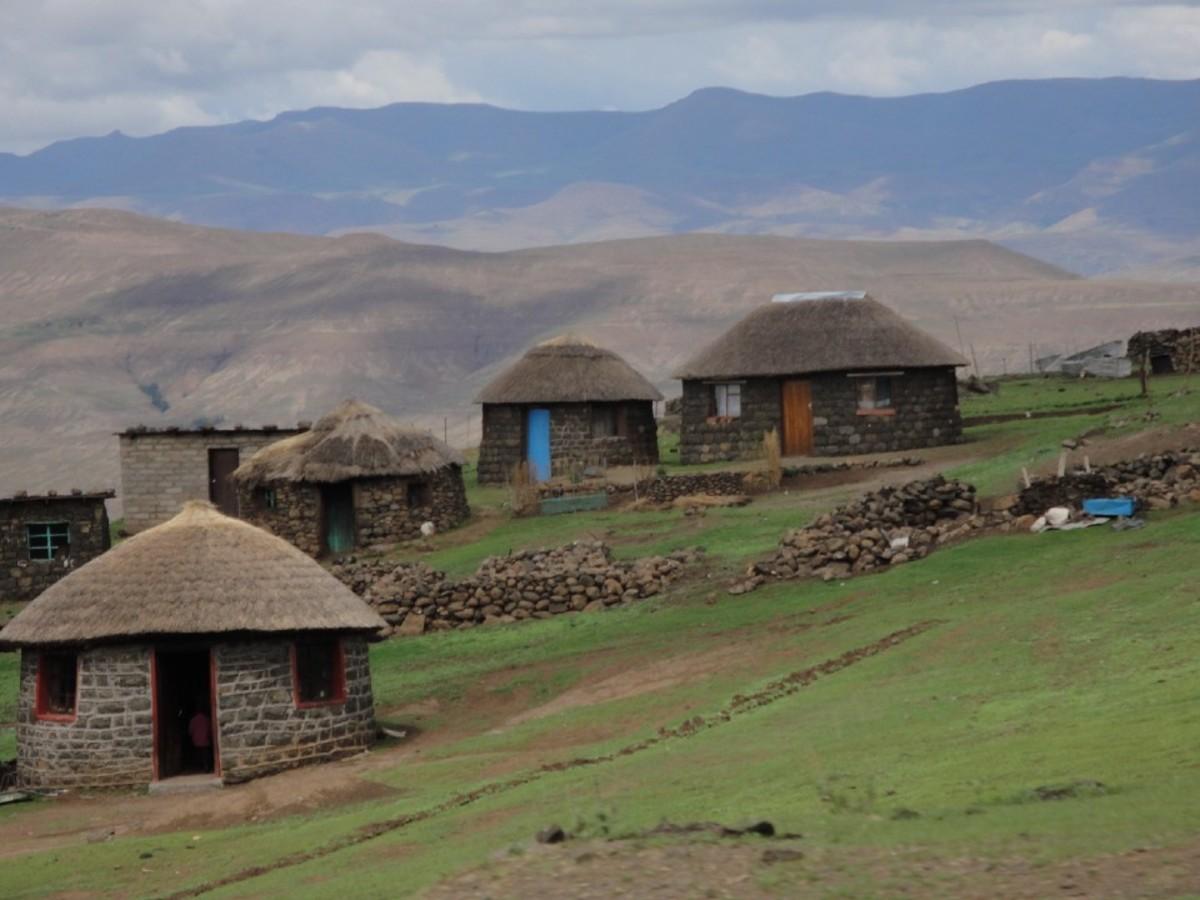 Lesotho mountain village.