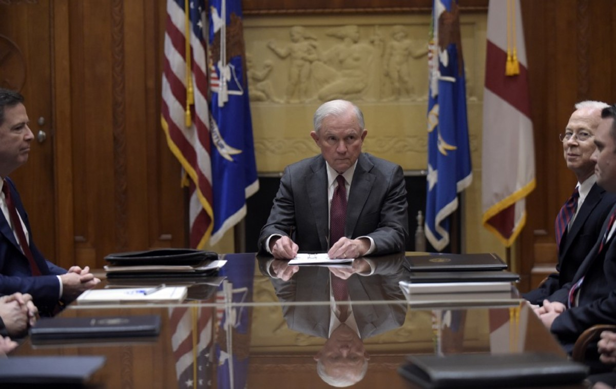 Attorney General Jeff Sessions, center, holds a meeting with the heads of federal law enforcement bodies at the Department of Justice on February 9th, 2017, in Washington, D.C.
