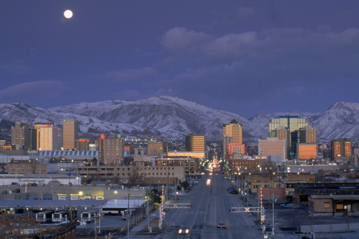 A general view of the Salt Lake City skyline taken during the 2002 Winter Olympic Games on February 18th, 2002.