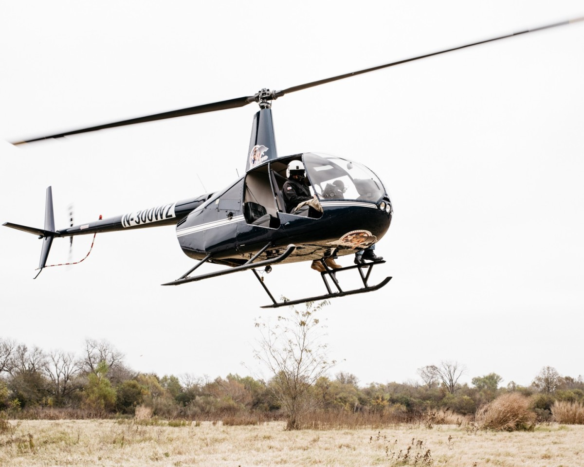 A pig-hunting helicopter rises from the ground.