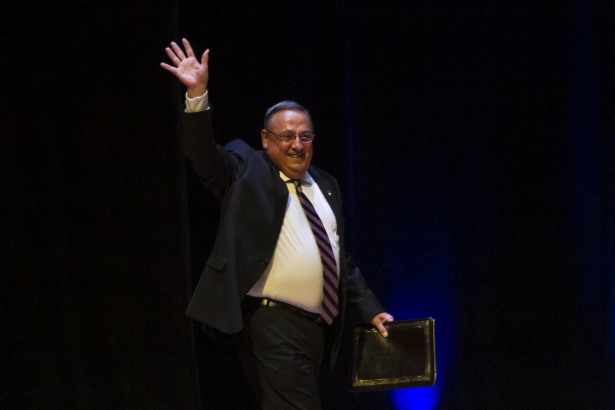 Maine Governor Paul LePage greets the crowd before Republican presidential candidate Donald Trump speaks in Portland, Maine, on August 4, 2016.