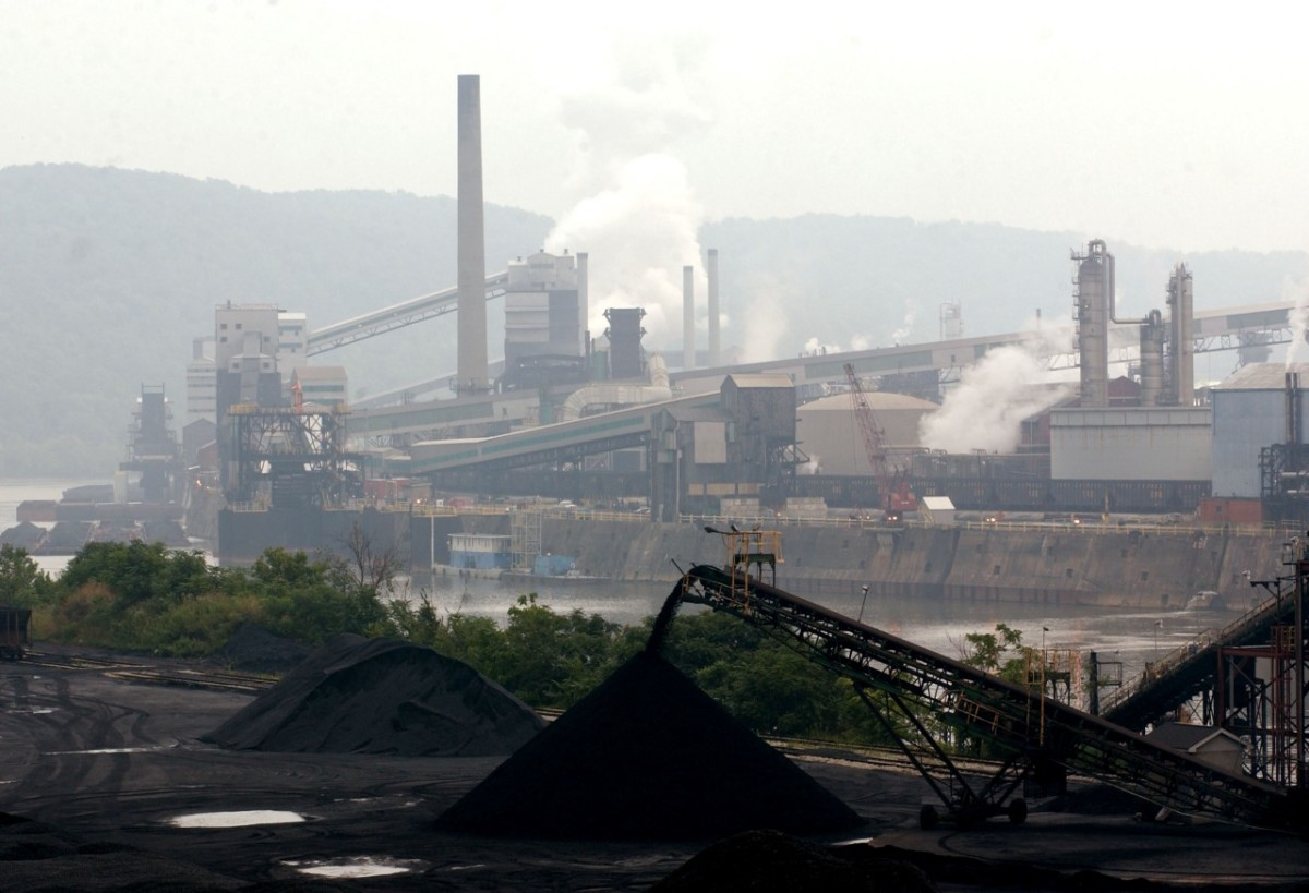 Smoke billows from a coal-powered steel plant in Pennsylvania.