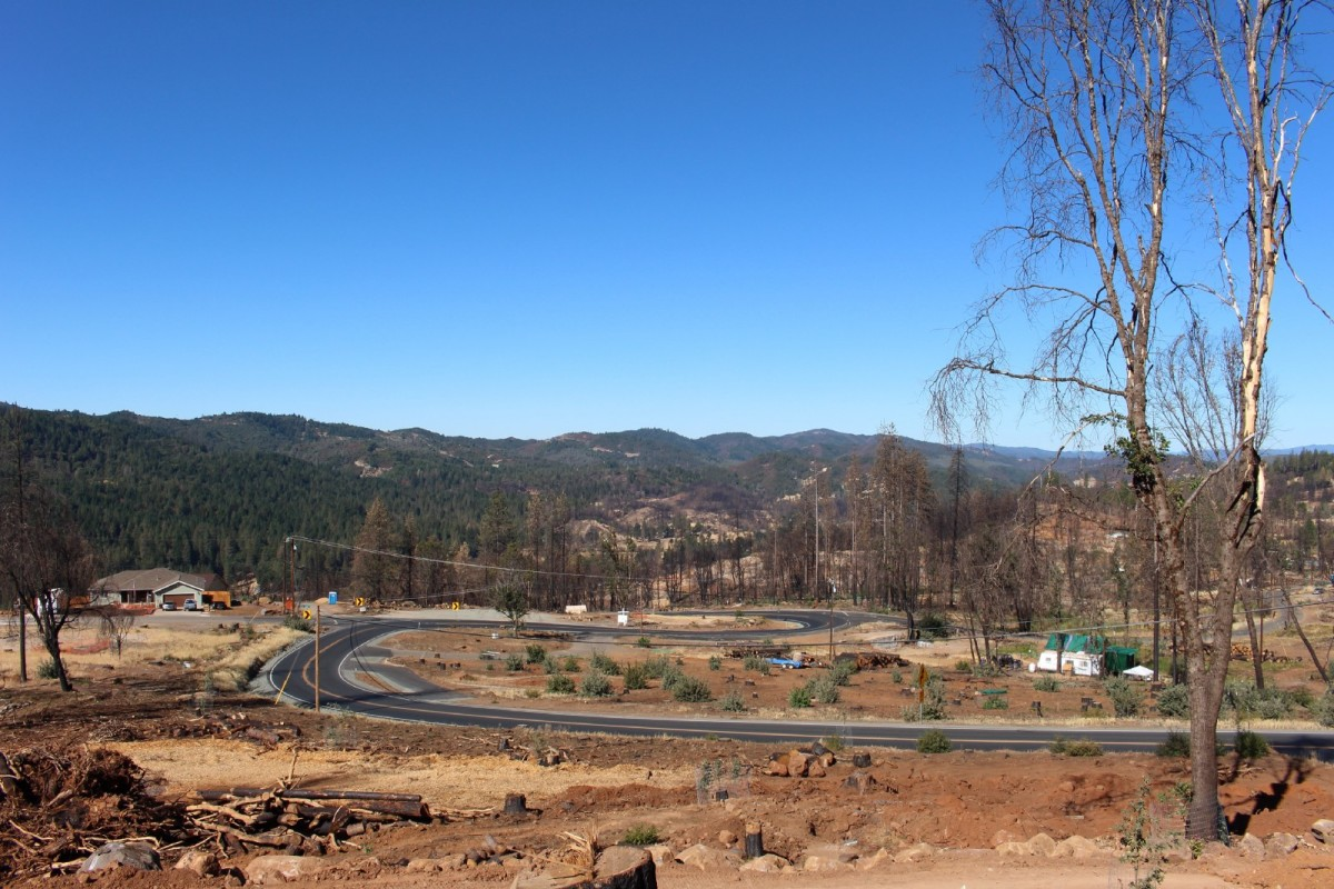 The Hobergs' new view, one year after the Valley Fire.
