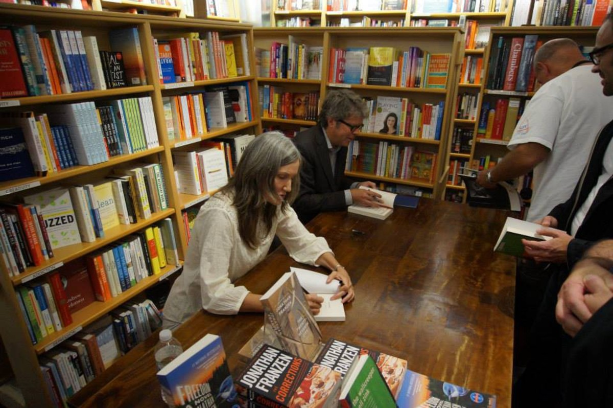 Dorothy author Nell Zink and Jonathan Franzen sign books at McNally Jackson Books in New York City