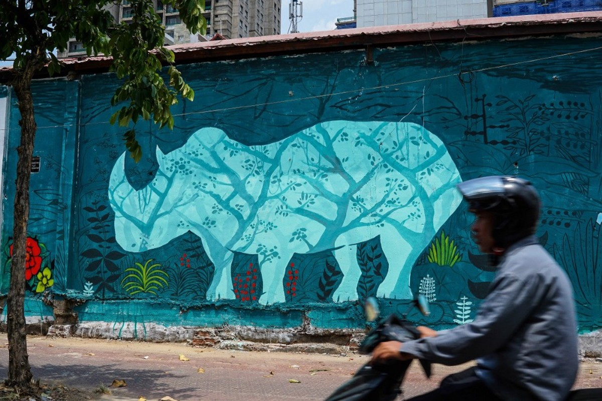 A graffiti picture that is part of a campaign to save the rhino in Ho Chi Minh City, Vietnam. (Photo: Michael Tatarski/Mongabay)