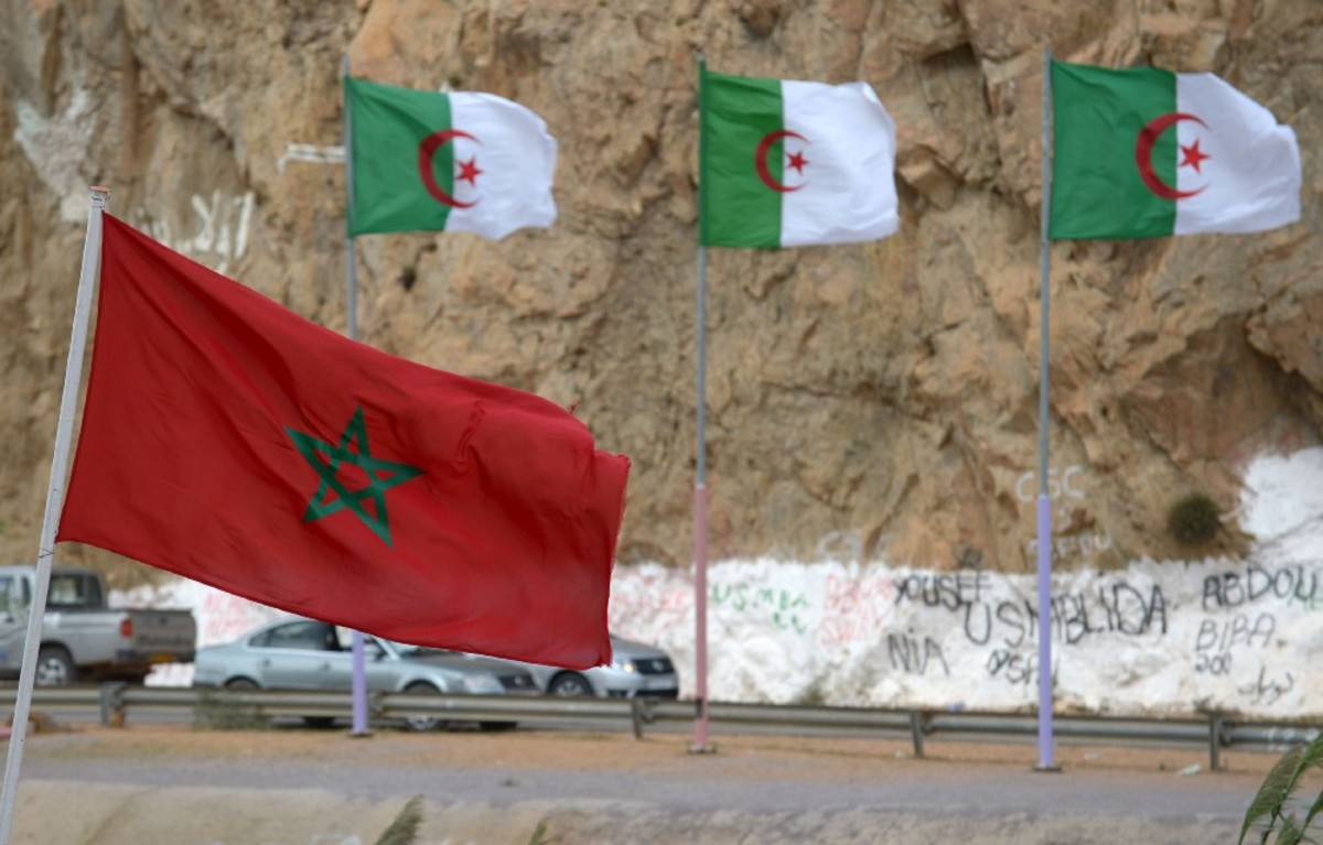 Moroccan and Algerian flags fly at the border between the two countries. (Photo: Fadel Senna/AFP/Getty Images)