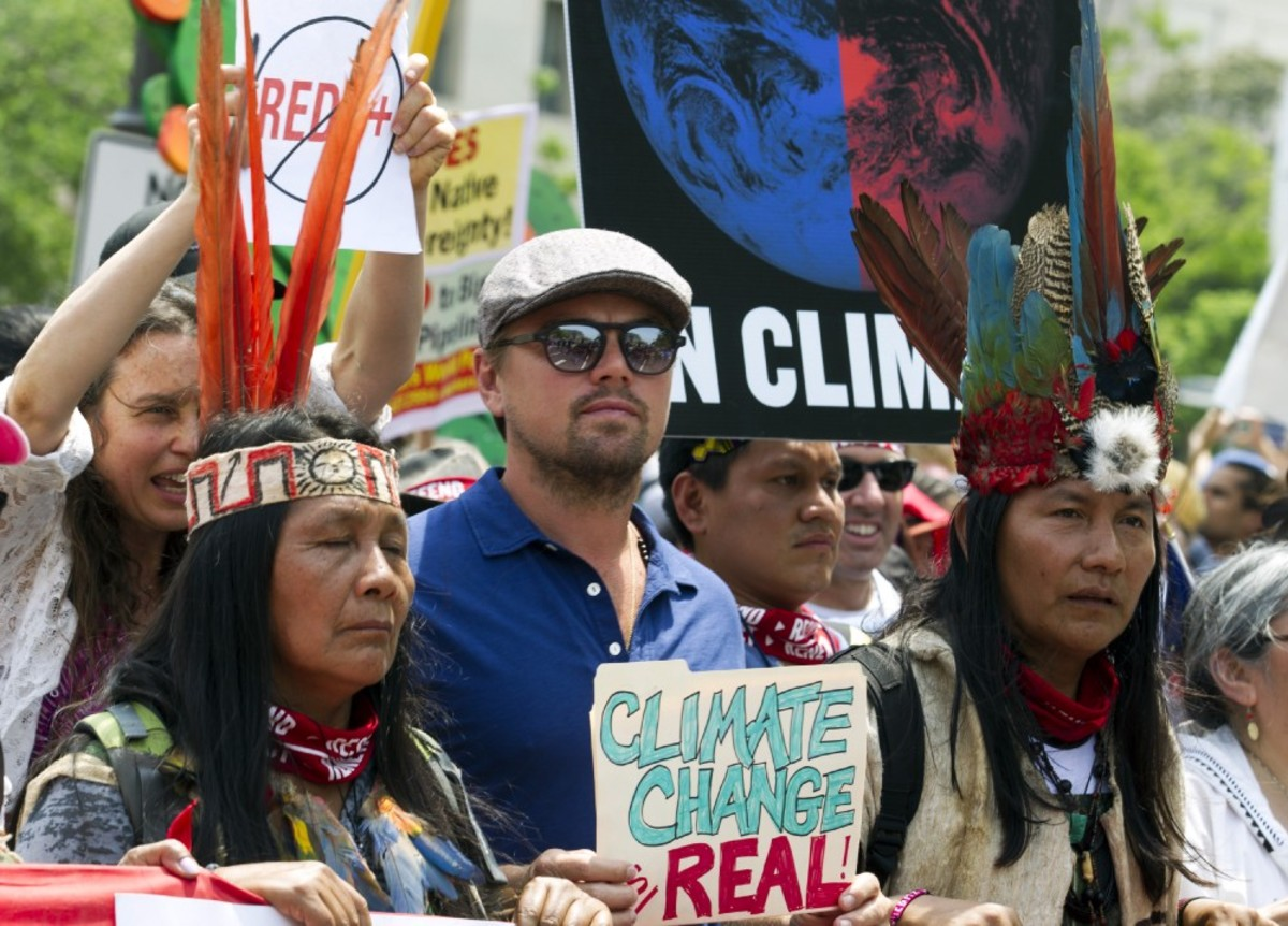 Actor Leonardo DiCaprio marches with a group of indigenous people from North and South America during the People's Climate March in Washington, D.C., on April 29th, 2017.