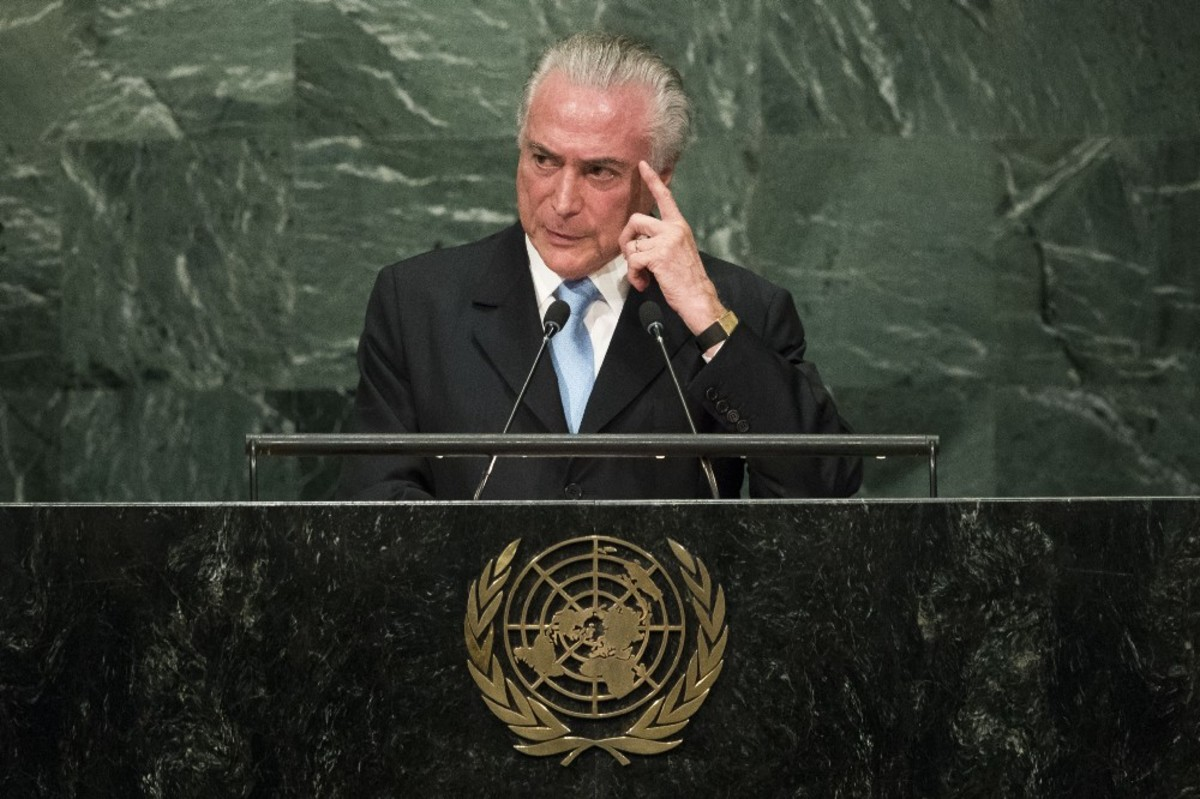 Brazil President Michel Temer addresses the United Nations General Assembly at the U.N. headquarters on September 20th, 2016, in New York City. (Photo: Drew Angerer /Getty Images)