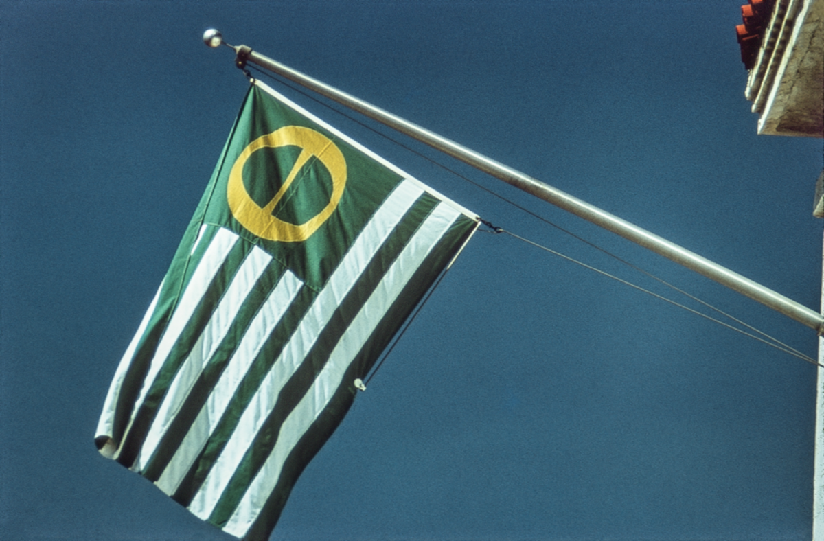 An ecology flag flies over Santa Barbara.