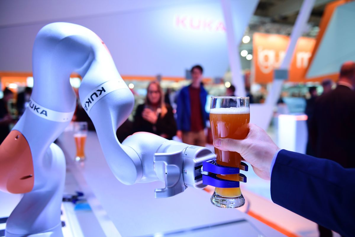 Robots serves beer at the Hanover Fair in Hanover, Germany, on April 24th, 2017.