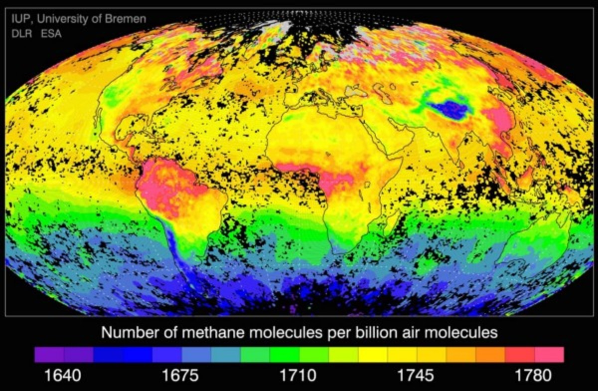 Global methane levels, as based on data from European Space Agency satellites. (Map: University of Bremen)