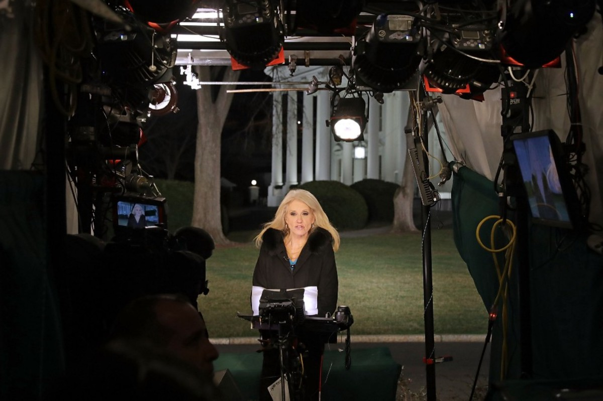 Kellyanne Conway is interviewed by Fox News on the north side of the White House on February 9th, 2017, in Washington, D.C. (Photo: Chip Somodevilla/Getty Images)