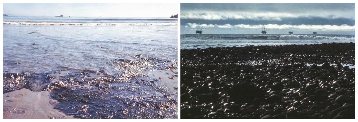 Oil-coated beaches