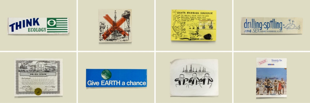 An assortment of protest materials responding to the 1969 oil spill.