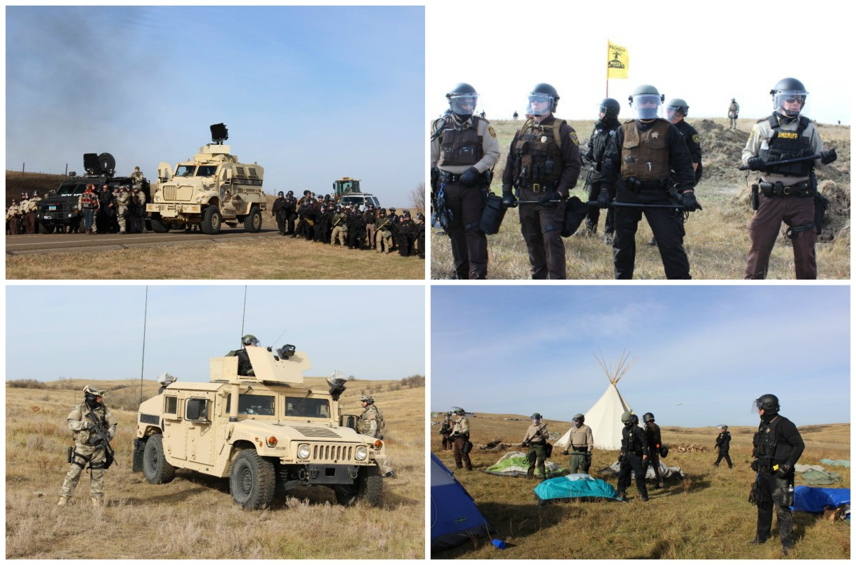 Clockwise, from top left: Police from multiple states and agencies, National Guardsmen, and armed private security forces working for Energy Transfer Partners gather on Highway 1806 to remove Native American water protectors and their allies from the Front Land Camp and barricades on Highway 1806, on October 27th, 2016. | Right: Police guarding land to the west of Highway 1806 which Standing Rock Sioux have deemed a sacred burial ground, and on which the Dakota Access Pipeline is currently under construction, on October 27th, 2016. | Police clearing Front Line Camp. | Police SWAT team preparing to clear Front Line Camp.