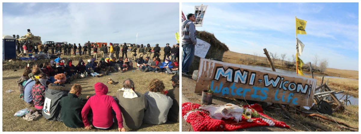 Left: Protectors circled-up inside Front Line Camp as police move in. | Right: Part of a temporary roadblock on Highway 1806 just North of Front Line Camp on October 27th, 2016.