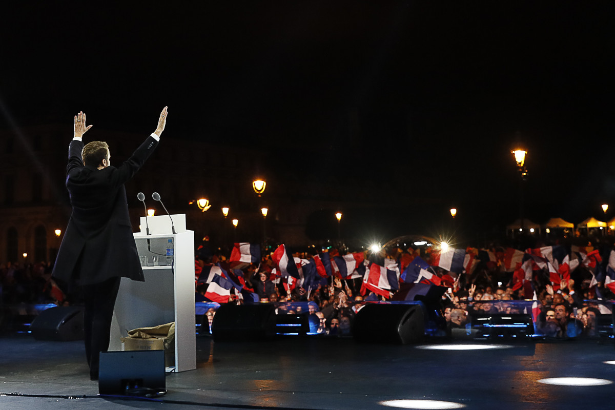 President-elect Emmanuel Macron delivers a speech in front of the Pyramid at the Louvre Museum in Paris, France, on May 7th, 2017.