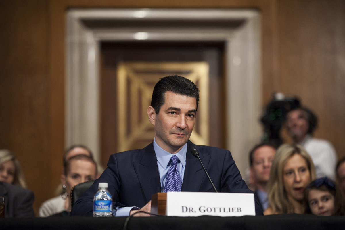 Scott Gottlieb testifies during a Senate hearing on April 5th, 2017.