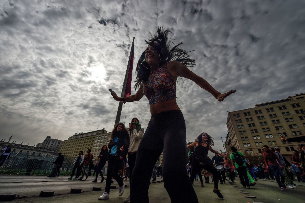 Students dance during a protest against education reform in Santiago on May 9th, 2017.