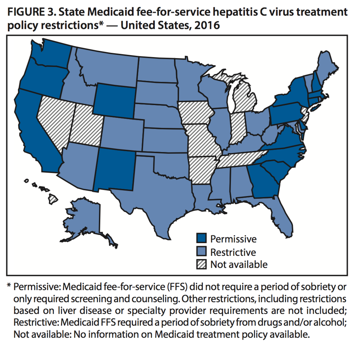 A map of states that will cover hepatitis C treatment through Medicaid for active drug users.