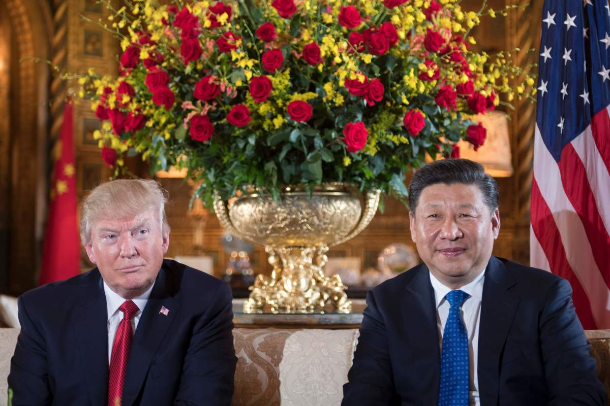 President Donald Trump sits with Chinese President Xi Jinping during a bilateral meeting at the Mar-a-Lago estate in West Palm Beach, Florida, on April 6th, 2017.