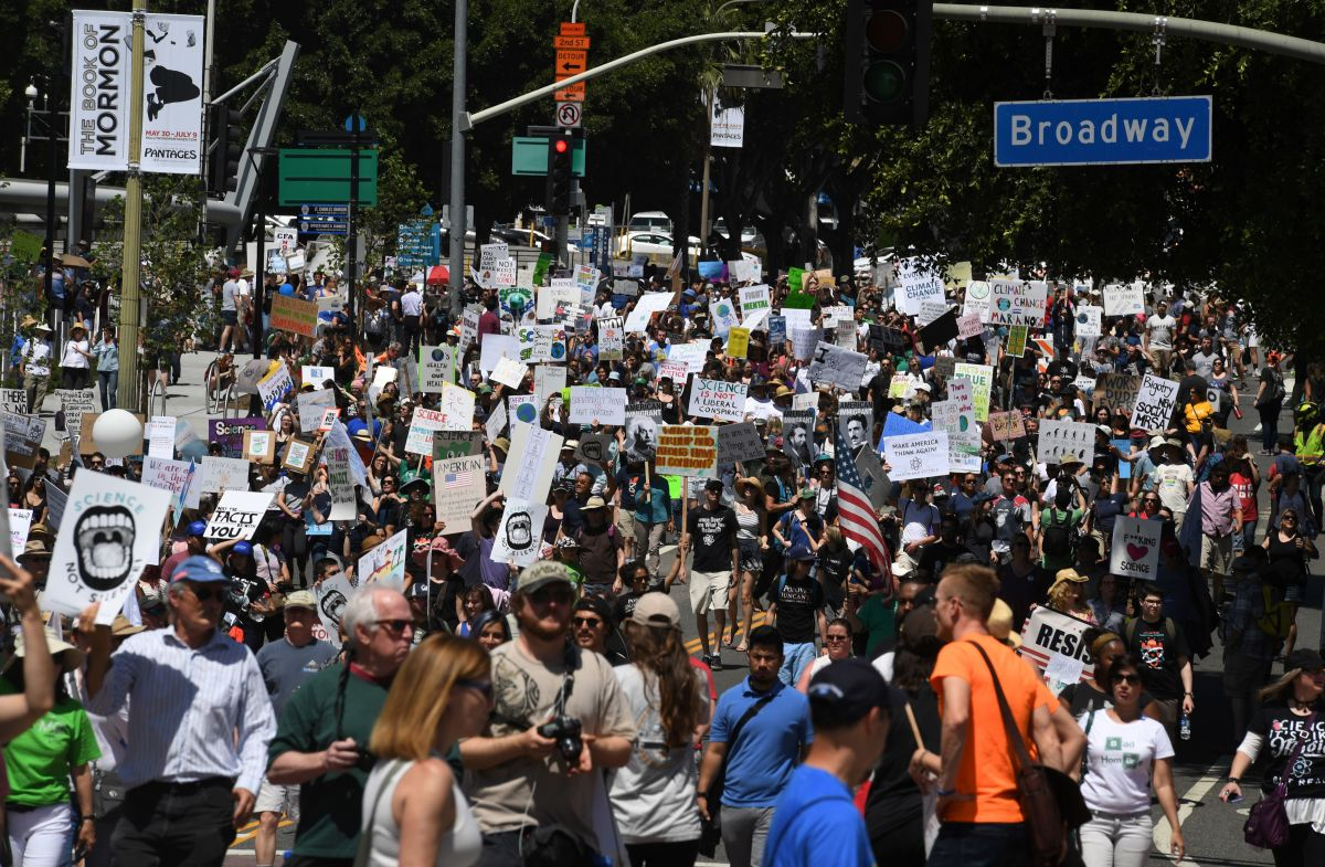 A large crowd of protestors take part in the March for Science in Los Angeles, California, on April 22nd, 2017.