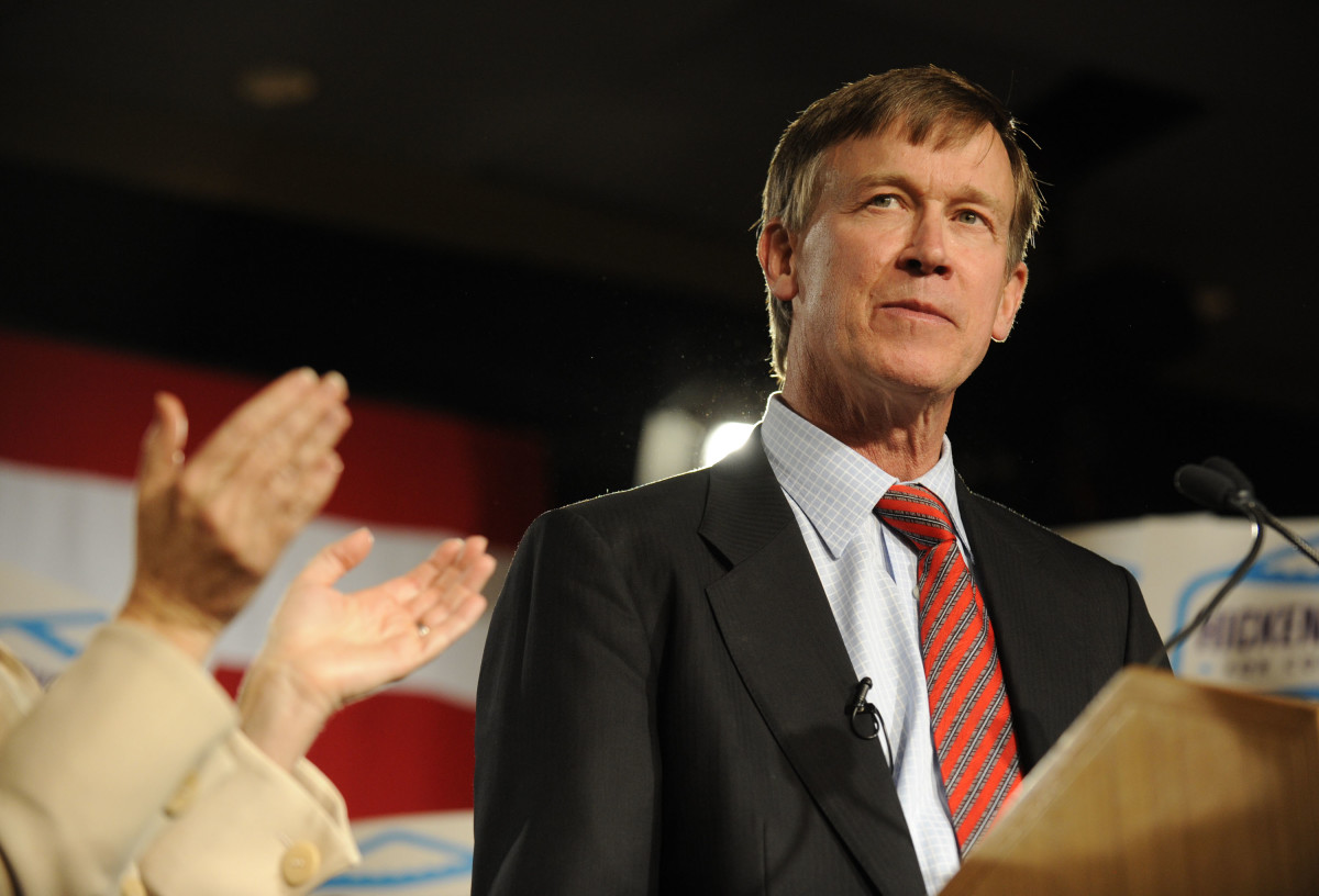 John Hickenlooper takes the stage at the Marriott City Center on November 2nd, 2010, in downtown Denver, Colorado.