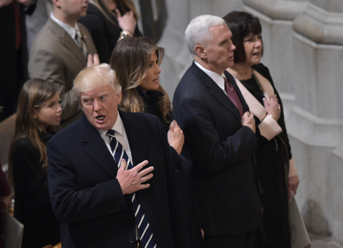 President Donald Trump, First Lady Melania Trump, Vice President Mike Pence, and Karen Pence attend the National Prayer Service at the National Cathedral on January 21st, 2017, in Washington, D.C.