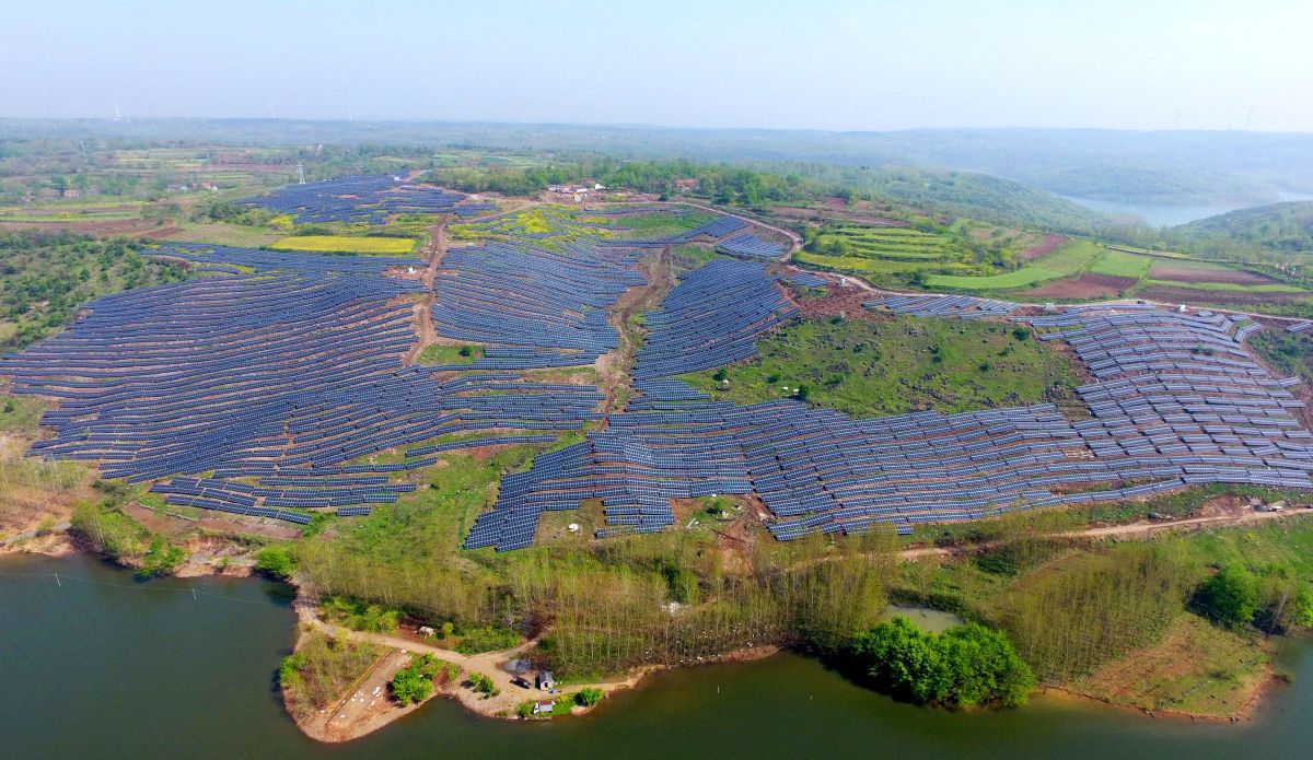 Solar photovoltaic modules on a hillside in a village in Chuzhou, in eastern China's Anhui province on April 13th, 2017.