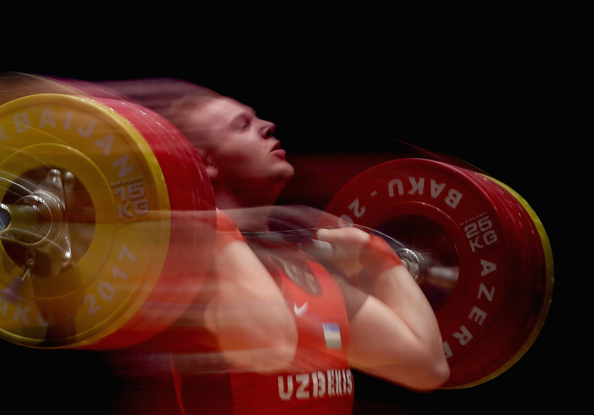 Ivan Efremov of Uzbekistan competes in the Men's Weighlifting 105 kg finals during day three of the Baku 2017 Islamic Solidarity Games on May 17th, 2017, in Baku, Azerbaijan.