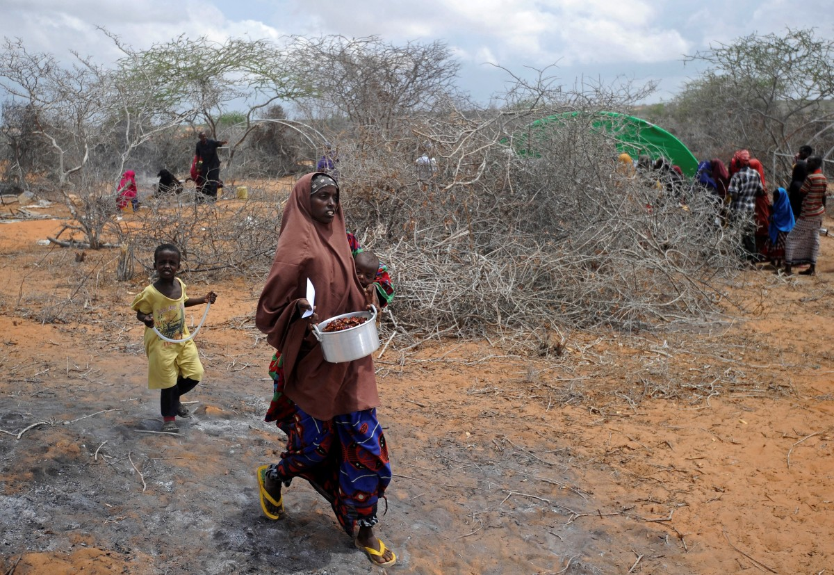 Somali women and children, displaced by drought and famine, outside Mogadishu on April 9th, 2017.