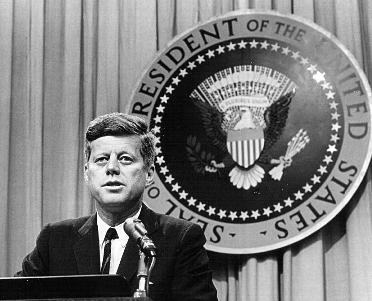 jfk years in office. President John F. Kennedy Speaks At A Press Conference On August 1st, 1963. Jfk Years In Office
