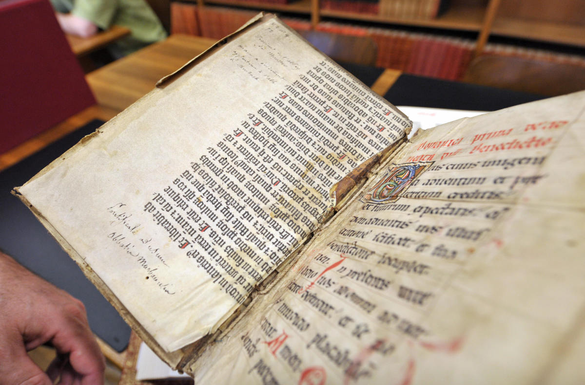 An extract from the Gutenberg Bible discovered in a library by an assistant who was searching the collection for something else. Experts confirmed the discovery by comparing the extract with a photocopy of the Gutenberg Bible, which was written with the same gothic font and printed by Johannes Gutenberg in Germany in the 15th century.