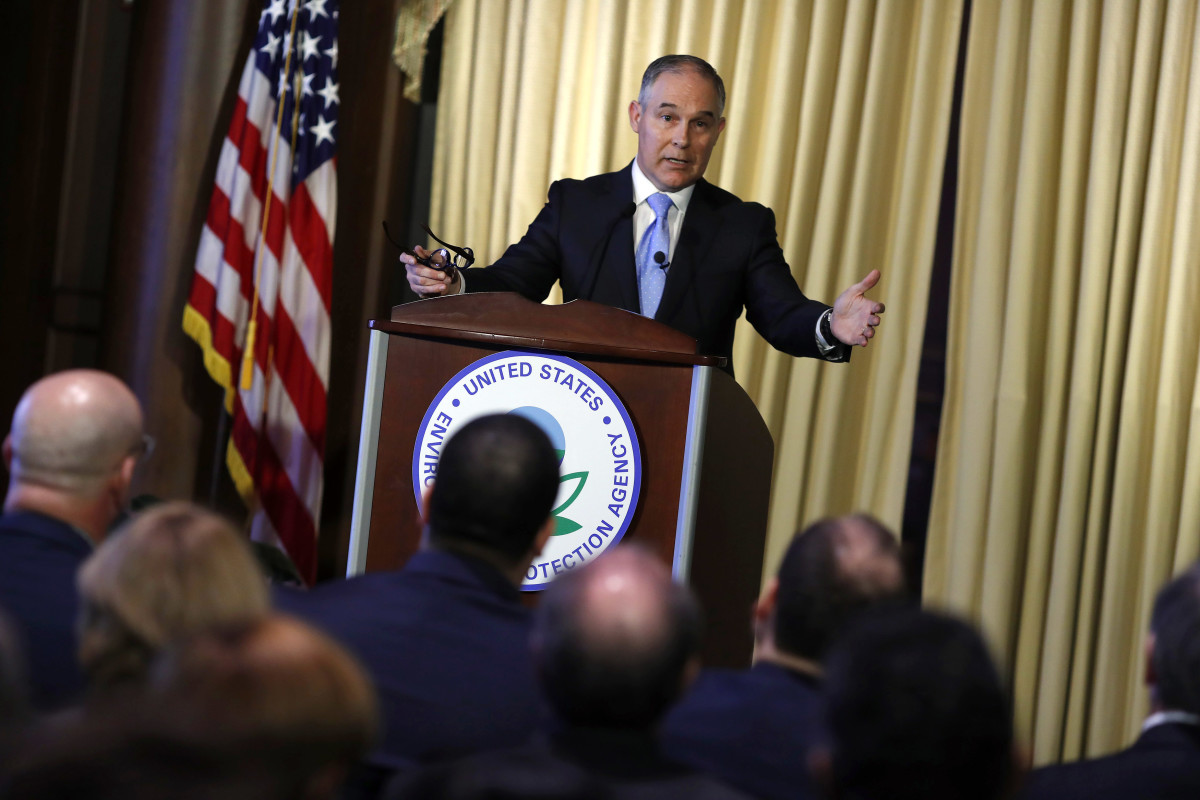 Environmental Protection Agency Administrator Scott Pruitt address employees at the agency's headquarters February 21st, 2017, in Washington, D.C.