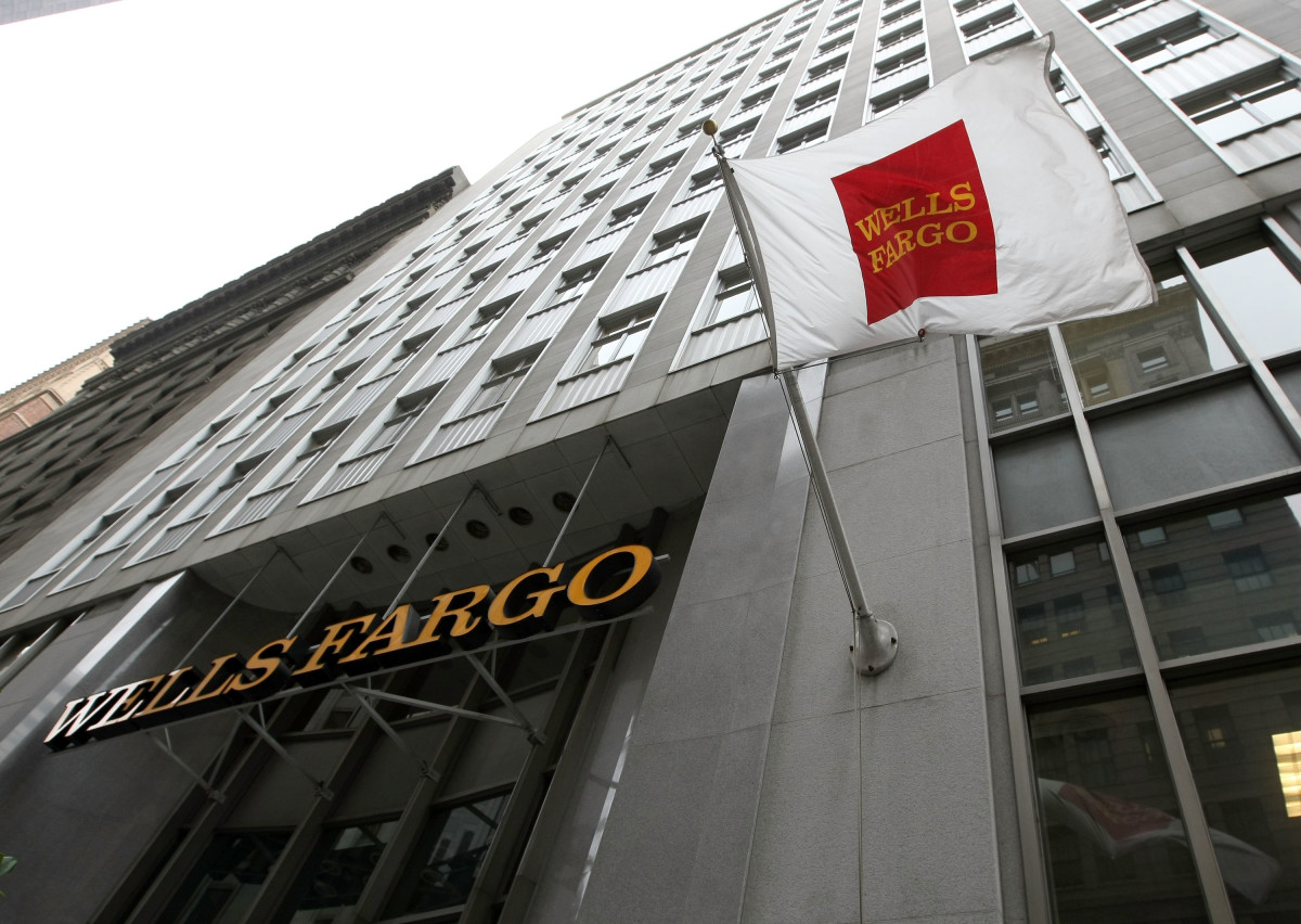A flag waves outside of a Wells Fargo bank branch on October 3rd, 2008, in San Francisco, California.